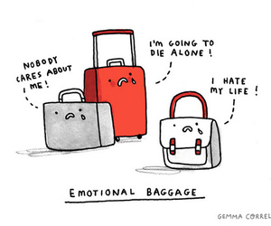 funny, baggage, and emotional image