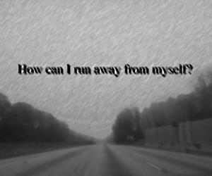 myself, black and white, and far away image