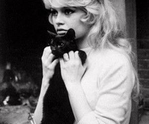 brigitte bardot, cat, and black and white image