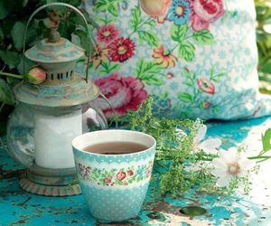 floral, tea cup, and flowers image