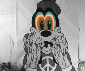goofy, disney, and peace image