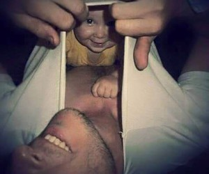 baby, dad, and funny image