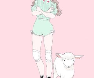 art, pastel, and sheep image