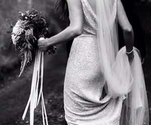 black and white, bouquet, and bridal image