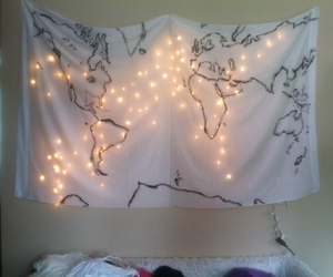 bed, lights, and world image