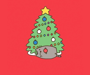 cat, tree, and christmas image