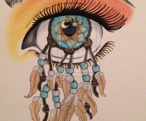 eye, drawing, and dreamcatcher image