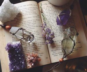 book, crystals, and hipster image