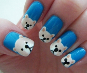nails, bear, and nail art image