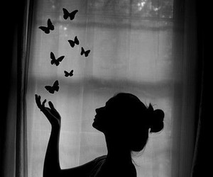 butterfly, girl, and black and white image