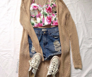 outfit, shoes, and flowers image