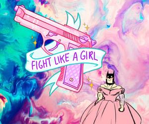 batman, girl, and gun image