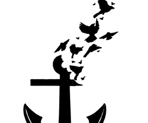 anchor, bird, and tattoo image