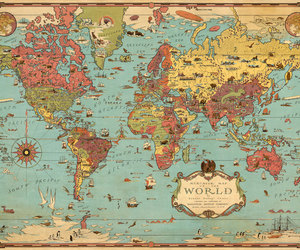 map, map of the world, and vintage image