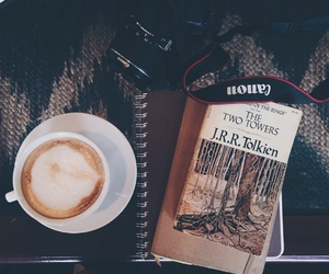 book, coffee, and lord of the rings image