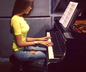 piano, fashion, and girl image