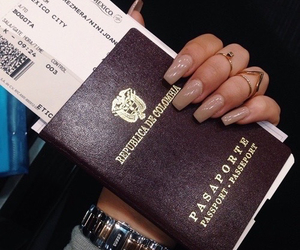 nails, passport, and travel image