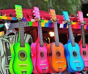 guitar, music, and neon image