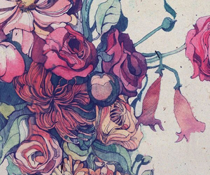 drawing, flowers, and tulips image