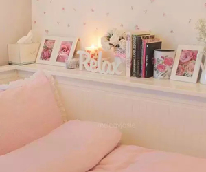 bedroom, pink, and relax image