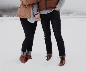 couple, denim, and fashion image