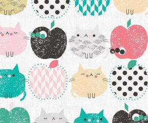 apples, colorful, and cat pattern image