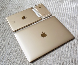 ipad, golden, and iphone gold image