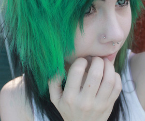 green hair, scene, and dyed hair image
