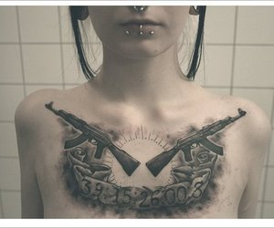 chest tattoo, Piercings, and Plugs image