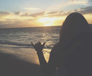 beach, sunset, and girl at the beach image