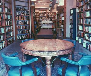 blue, bookcase, and bookworm image