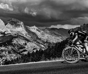 b&w, cycling, and nature image