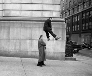 black and white, jump, and men image