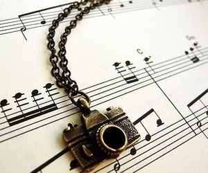 music, camera, and necklace image