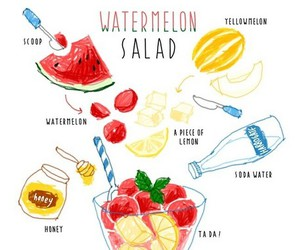 salad, honey, and watermelon image