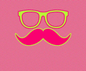 moustache, pink, and yellow image