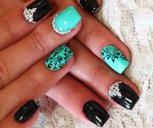 black, bling, and mint image