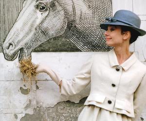 audrey hepburn, horse, and art image