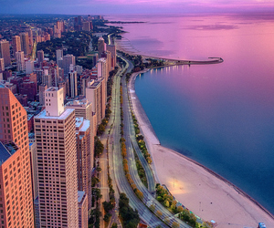 city, chicago, and pink image