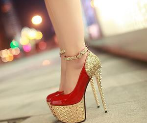 heels, red, and girl image