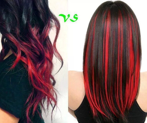 curly hair, hair styles, and Red & Black image
