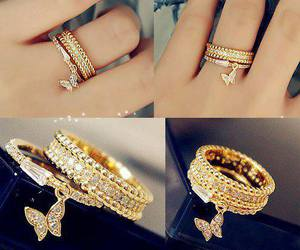 ring, butterfly, and gold image