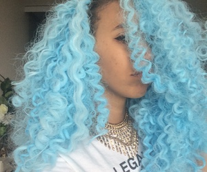 curly, hair, and blue image