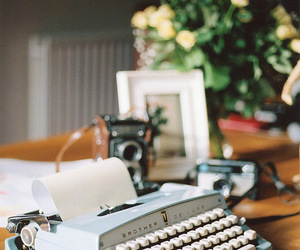 flowers, type writer, and frame image