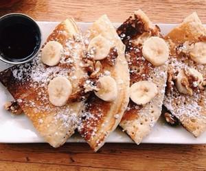 food, banana, and pancakes image