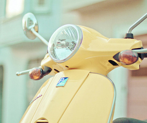 yellow, pastel, and Vespa image