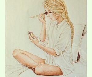 girl, drawing, and makeup image