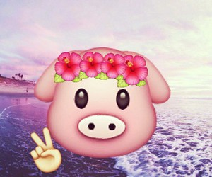pig, emoji, and pink image