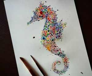 art, colors, and seahorse image