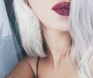 hair, lips, and red image